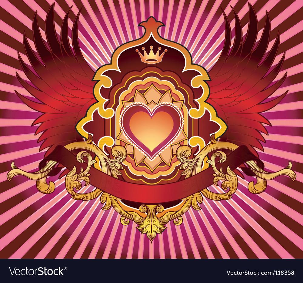 Heart emblem vector | Price: 1 Credit (USD $1)