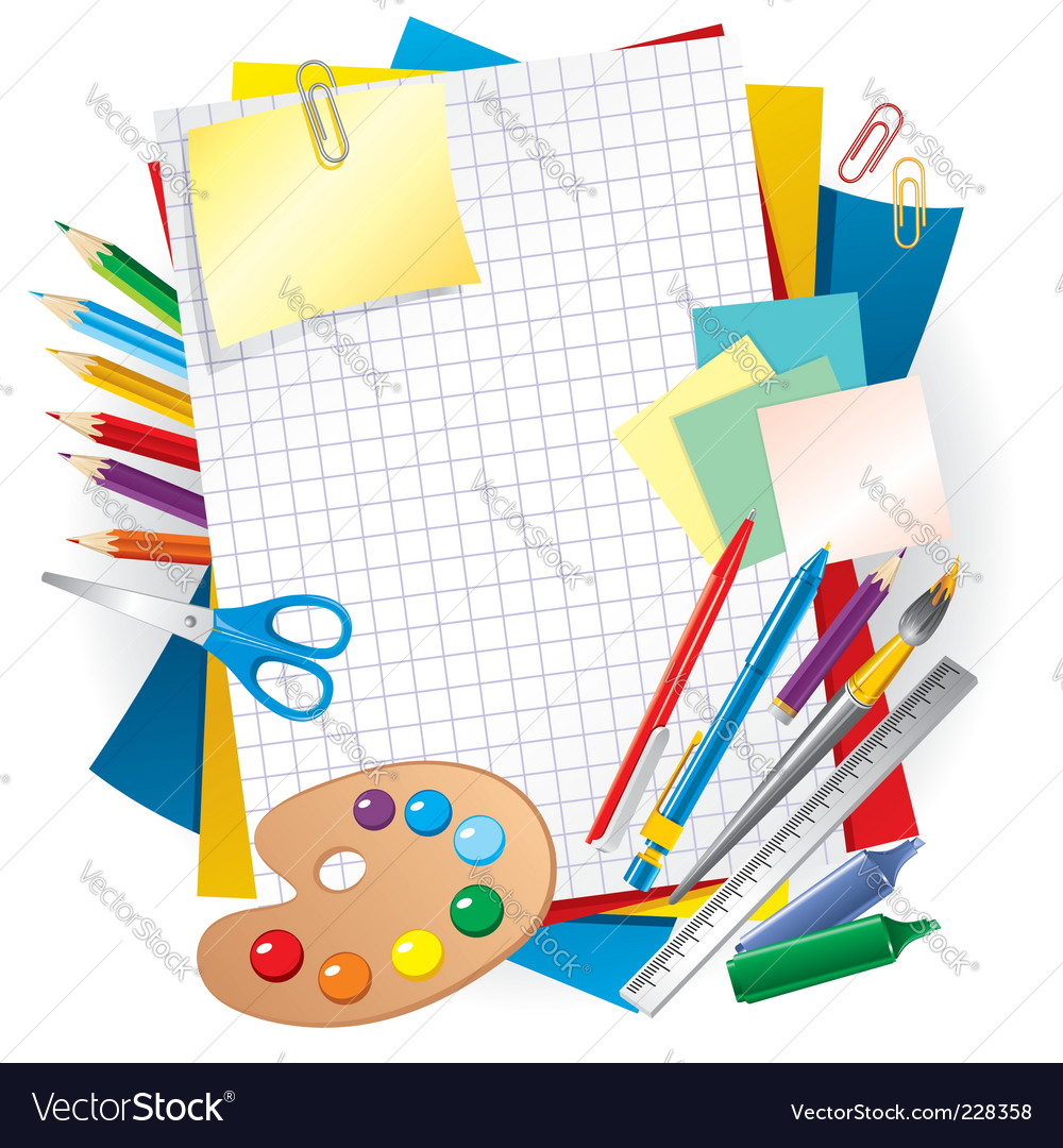 Paper and pens vector | Price: 1 Credit (USD $1)
