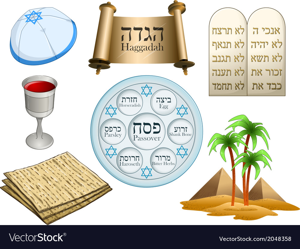 Passover symbols pack vector | Price: 1 Credit (USD $1)