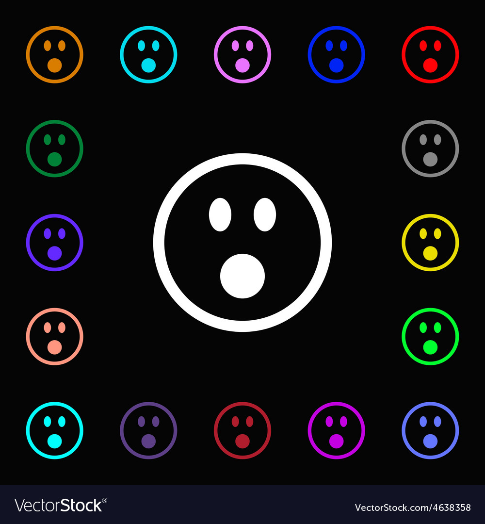 Shocked face smiley icon sign lots of colorful vector | Price: 1 Credit (USD $1)