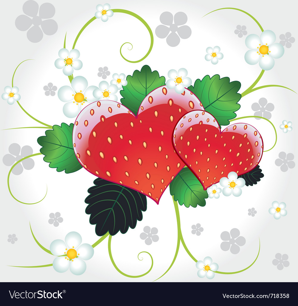 Strawberries hearts with swirl vector