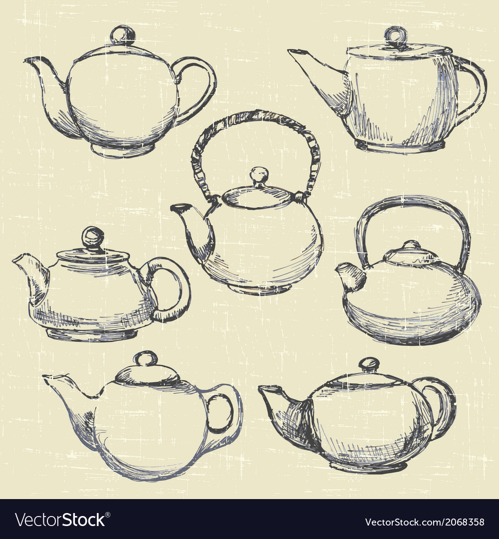 Teapots antique vector | Price: 1 Credit (USD $1)