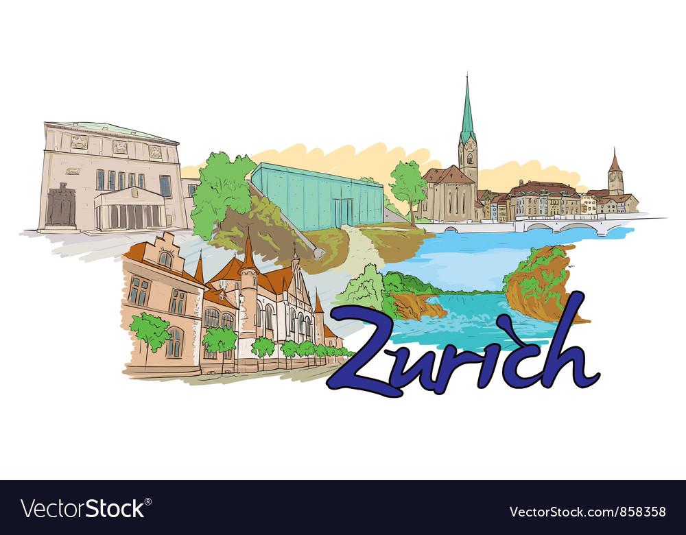 Zurich doodles vector | Price: 1 Credit (USD $1)