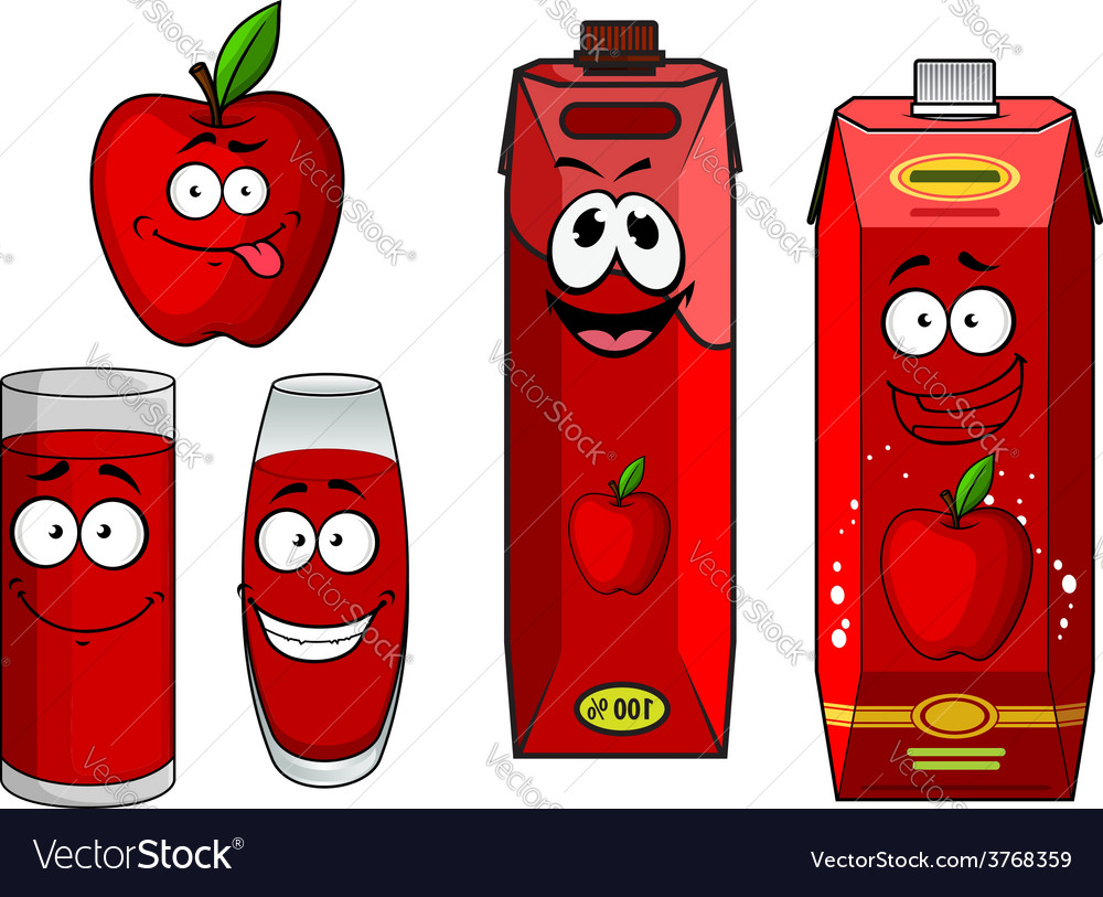 Cartoon apple with apple juice in containers vector | Price: 1 Credit (USD $1)