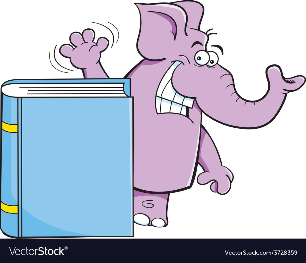 Cartoon elephant standing behind a book vector | Price: 1 Credit (USD $1)
