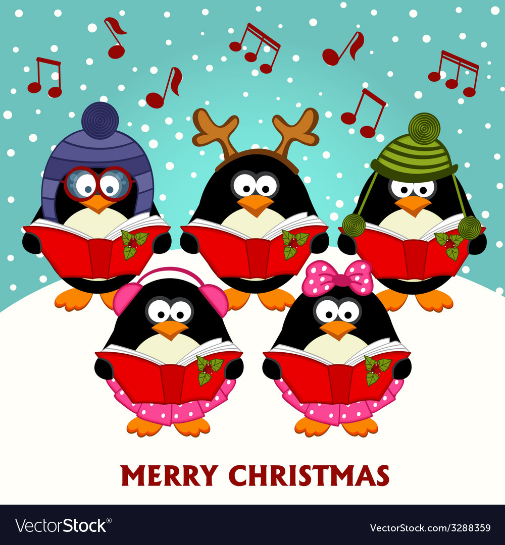 Christmas choir penguins vector | Price: 1 Credit (USD $1)