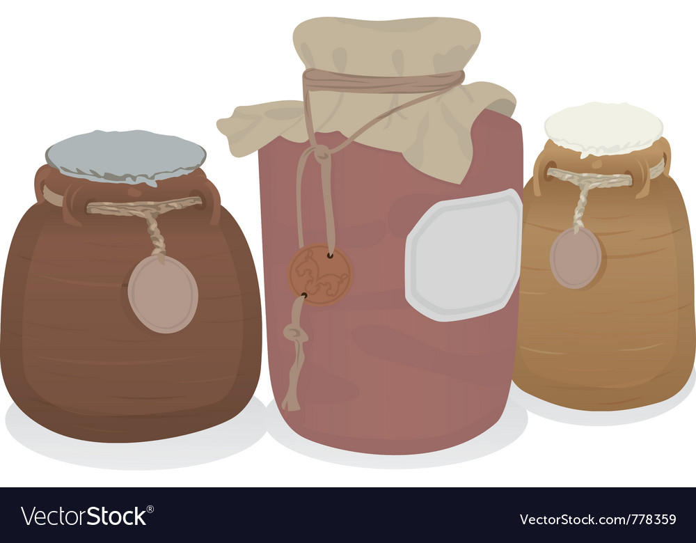 Clay jars set vector | Price: 1 Credit (USD $1)