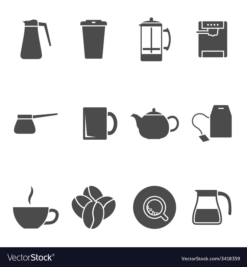 Coffee tea icons vector | Price: 1 Credit (USD $1)