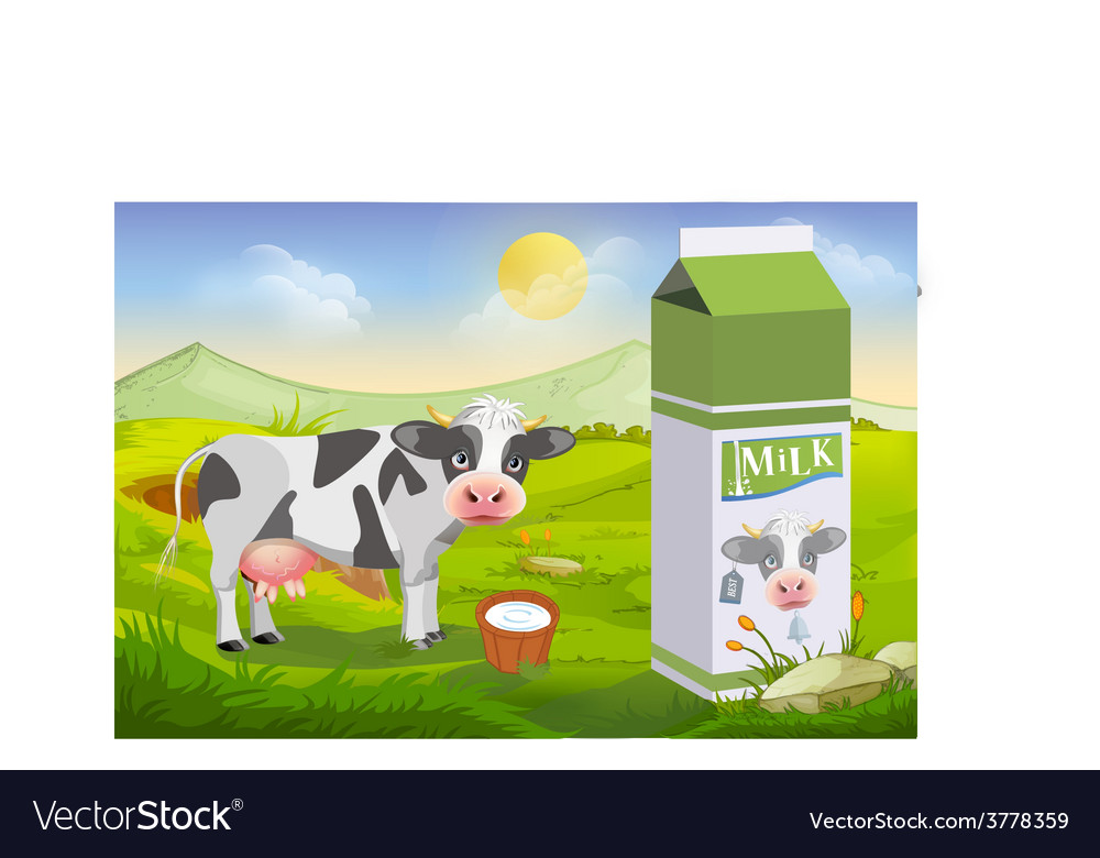 Cute cow and milk pack vector | Price: 3 Credit (USD $3)