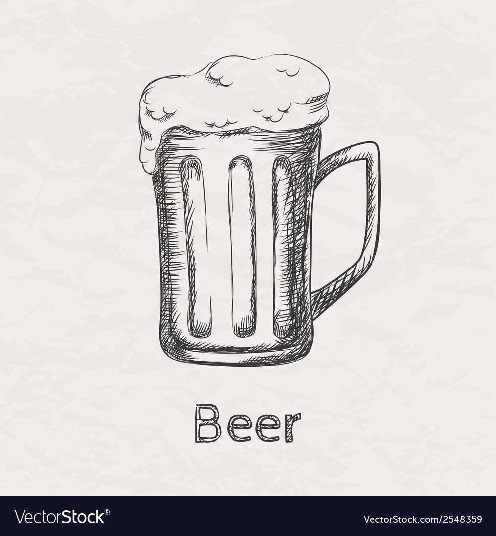 Hand drawn sketch of beer mug vector | Price: 1 Credit (USD $1)