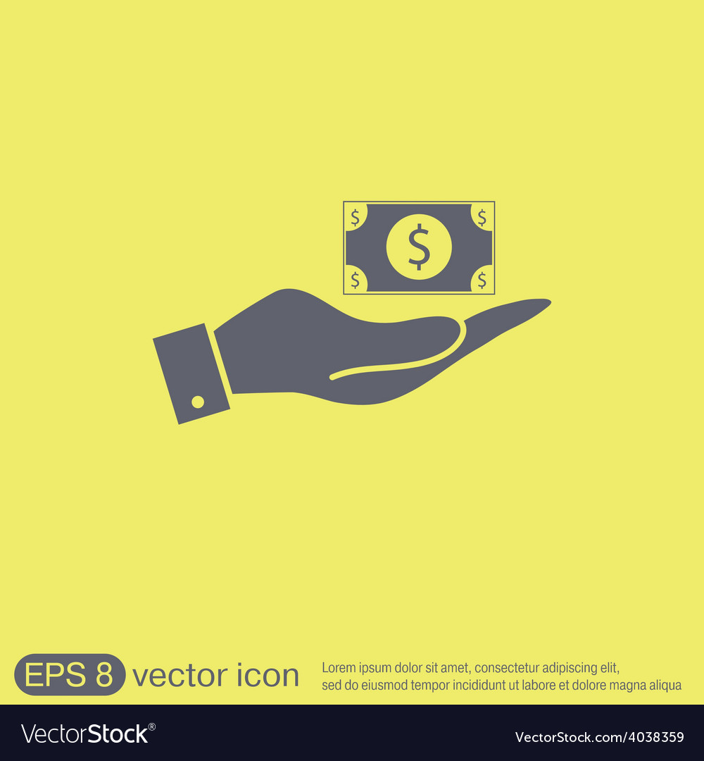 Hand holding a dollar bill symbol of money vector | Price: 1 Credit (USD $1)