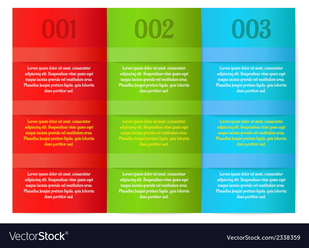 Infographics - three color vertical panels vector | Price: 1 Credit (USD $1)