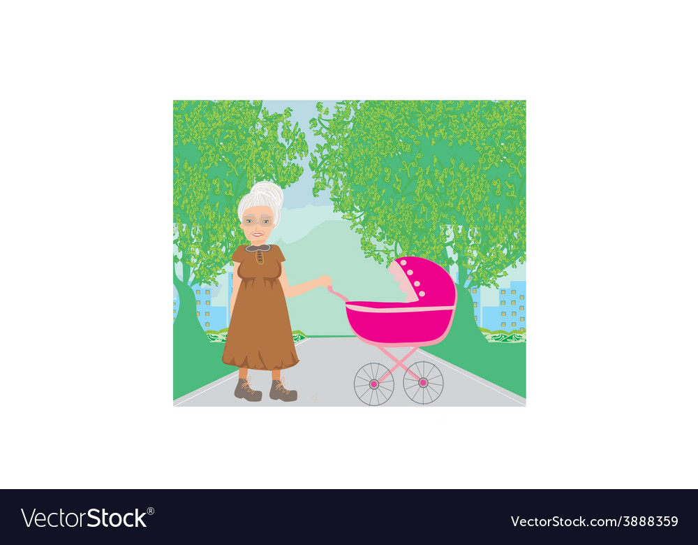 Old lady pushing a stroller in the park vector | Price: 1 Credit (USD $1)