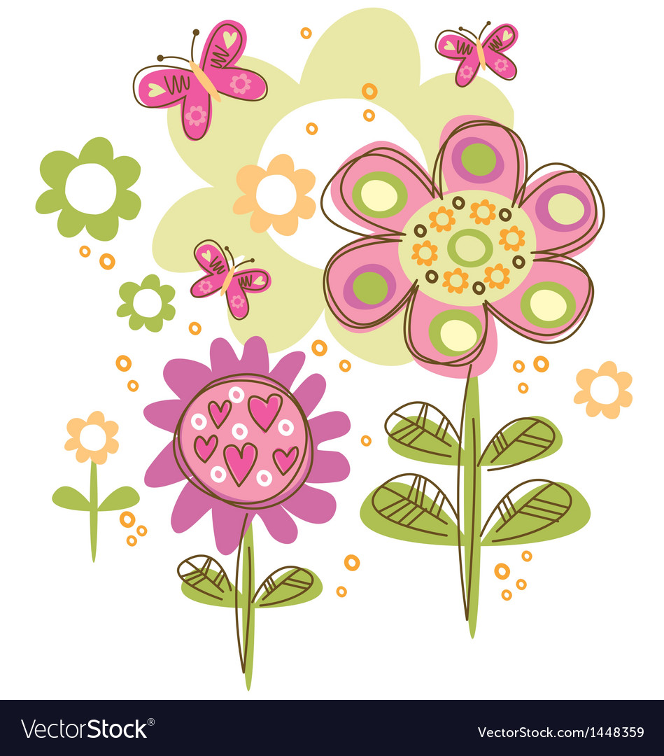 Pretty flowers vector | Price: 1 Credit (USD $1)