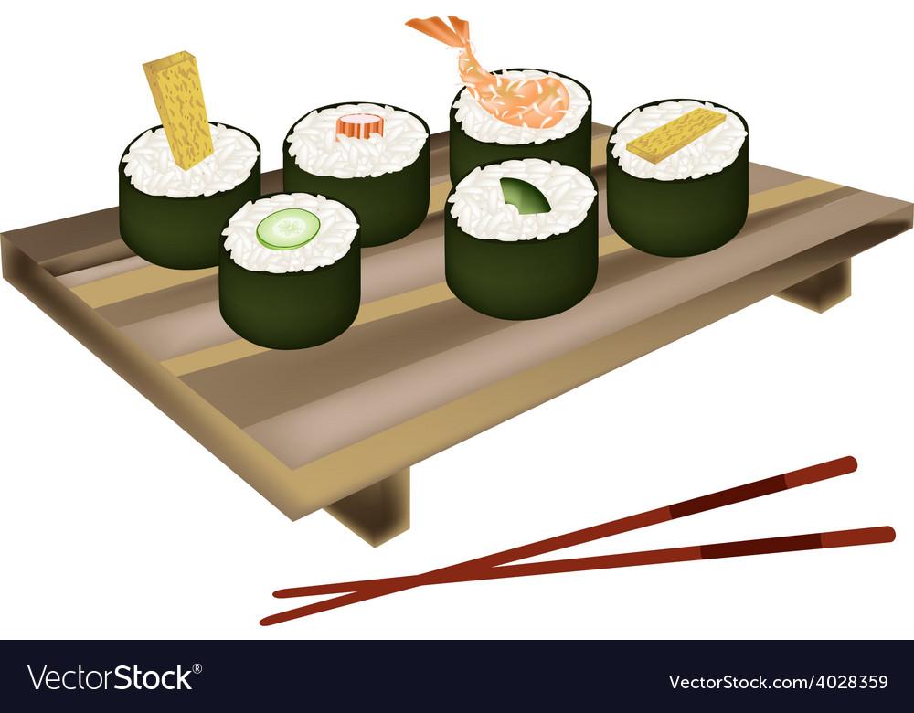 Set of sushi roll or makizushi on white vector