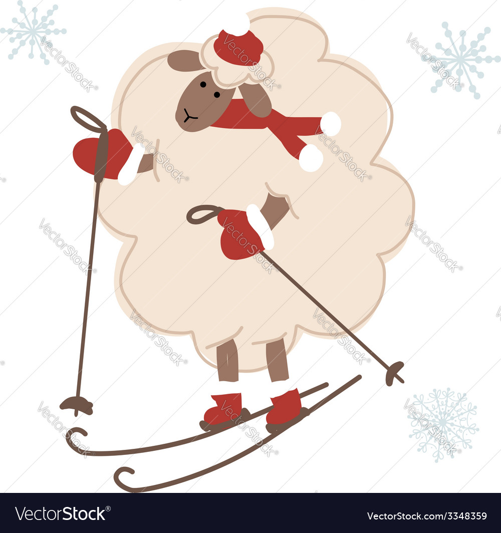 Sheep santa skiing symbol of new year 2015 vector | Price: 1 Credit (USD $1)