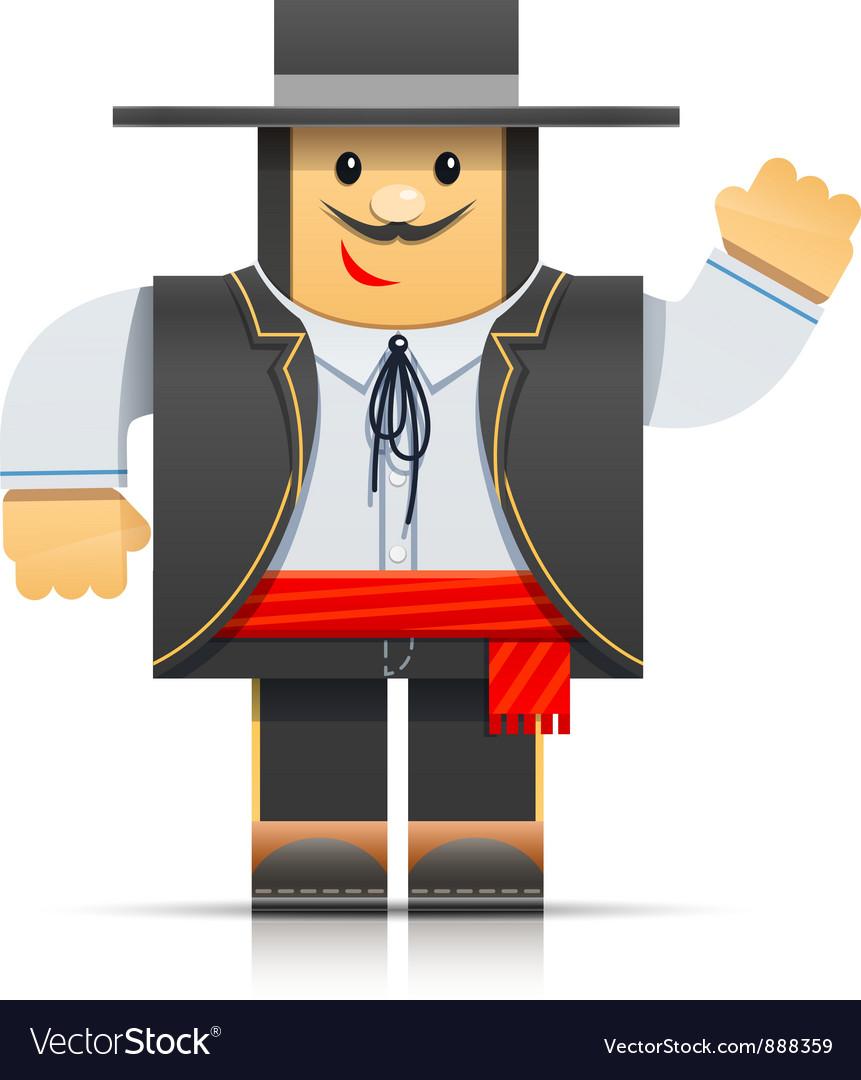 Spanish man origami toy vector | Price: 3 Credit (USD $3)
