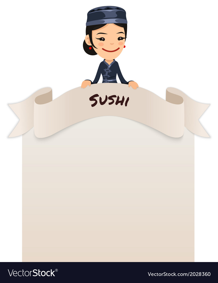 Asian female chef looking at blank menu on top vector | Price: 1 Credit (USD $1)