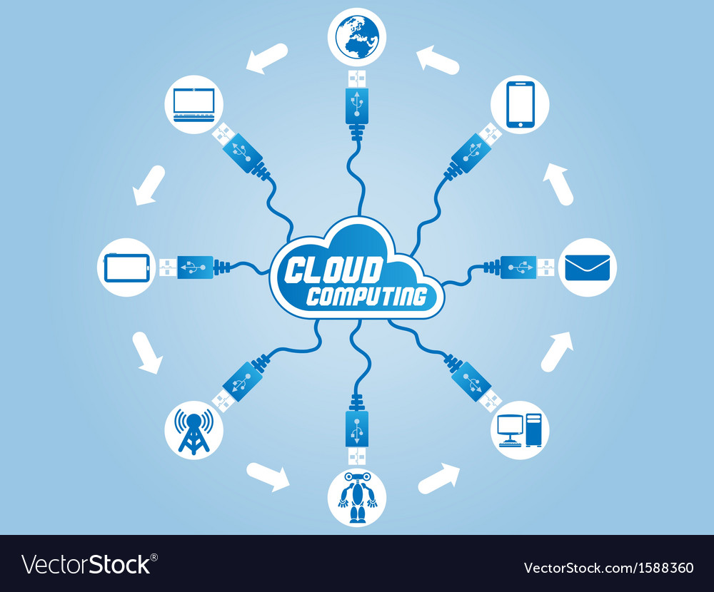 Cloud computing usb vector | Price: 1 Credit (USD $1)