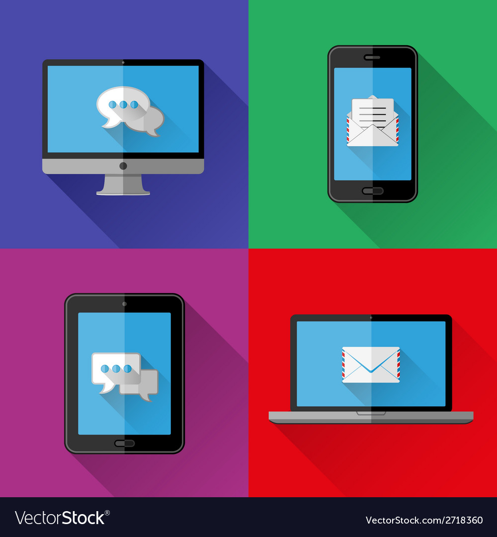 Flat icons pc laptop cell phone and tablet vector | Price: 1 Credit (USD $1)