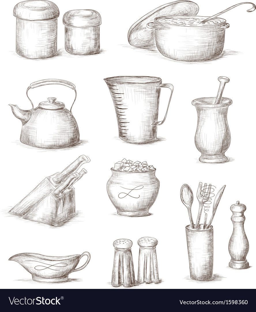 Hand drawn kitchen elements vector | Price: 1 Credit (USD $1)