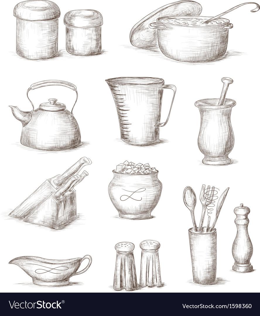 Hand drawn kitchen elements vector | Price: 1 Credit (USD $1)