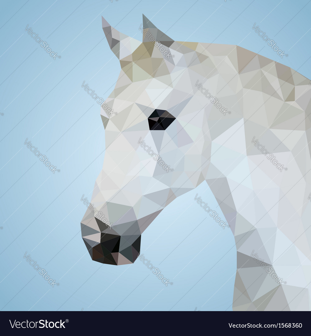 Head of a white horse in triangular style vector | Price: 1 Credit (USD $1)