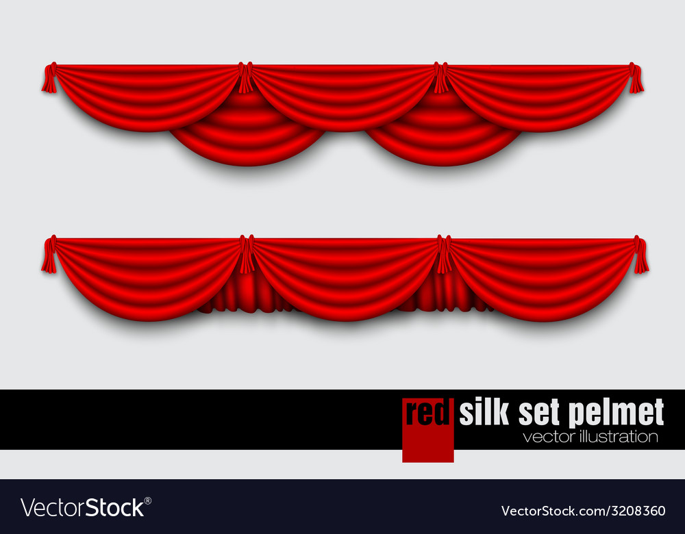 Red silk set pelmet and silk red curtains vector | Price: 1 Credit (USD $1)