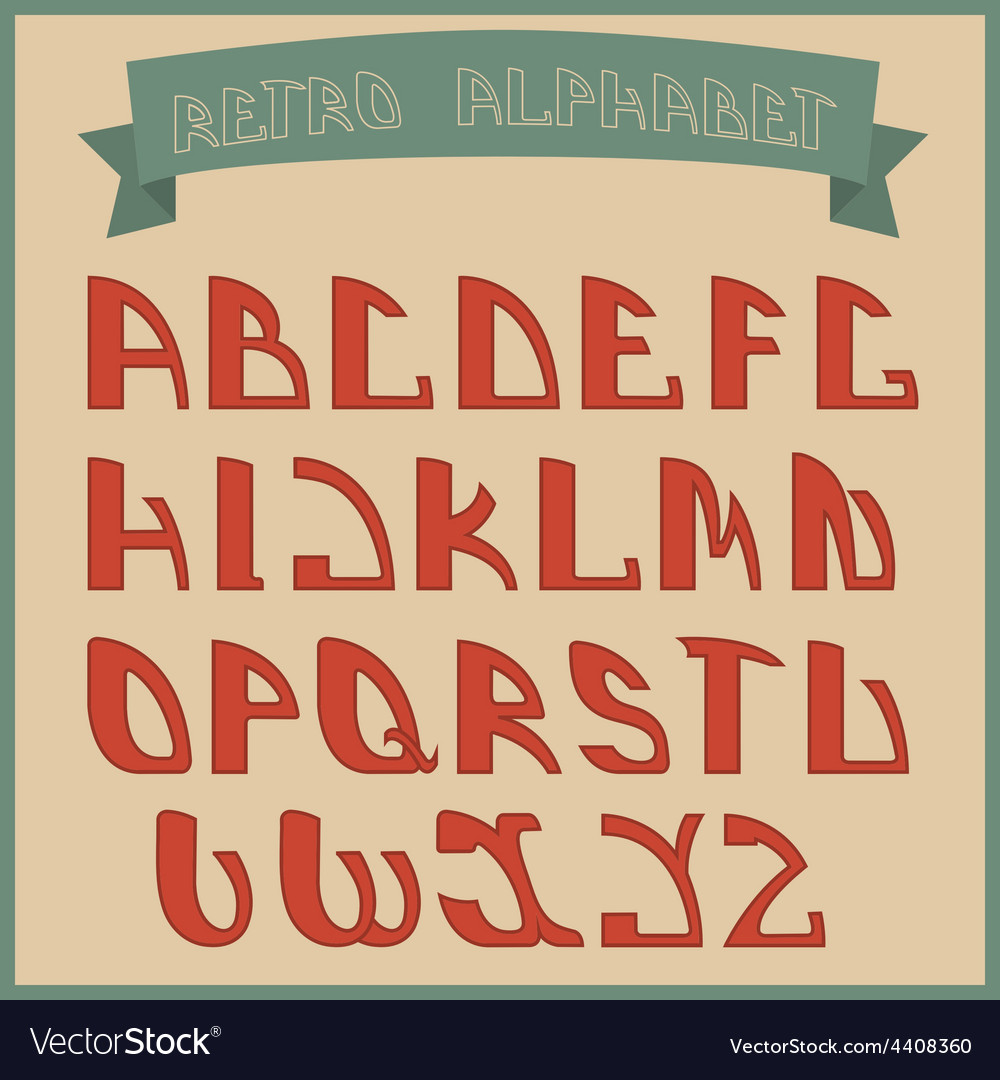 Retro styled font design elements vector | Price: 1 Credit (USD $1)