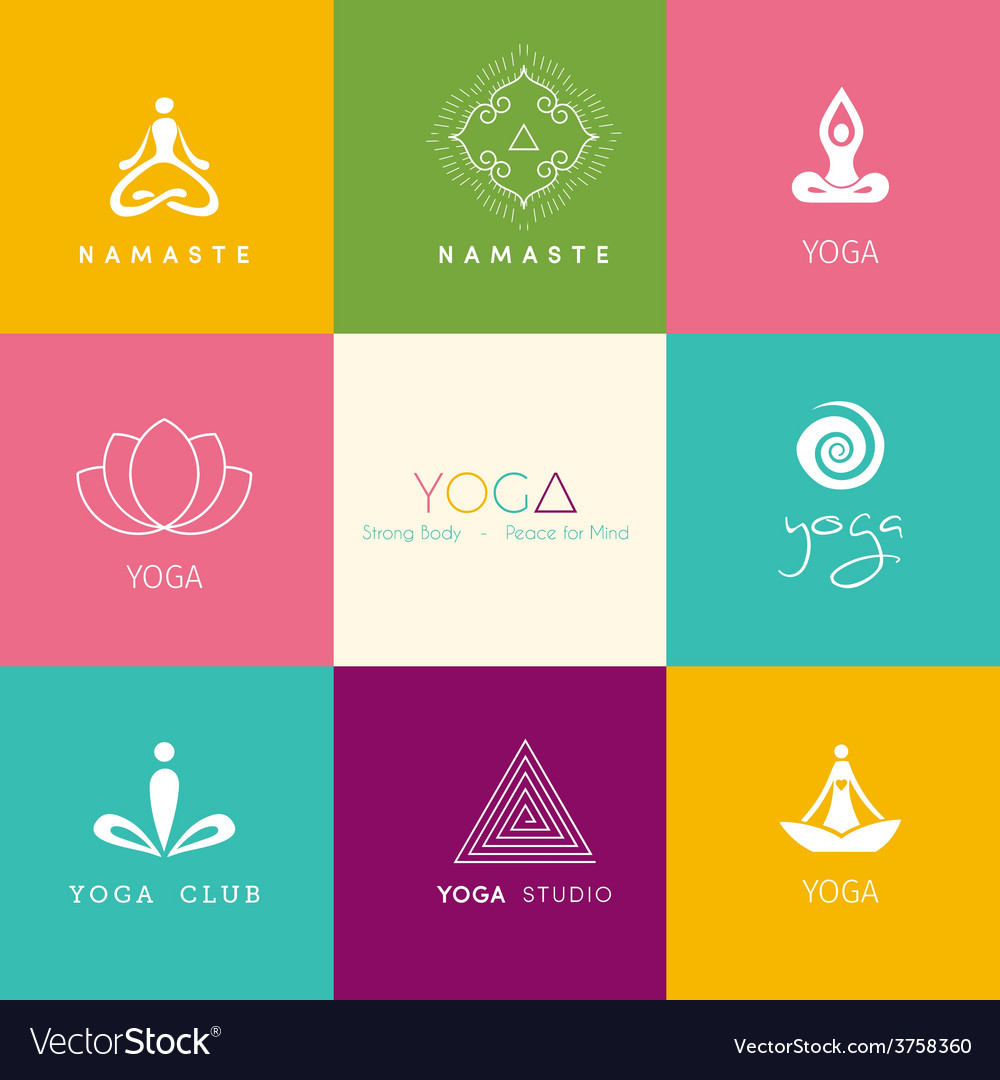 Set of logos for a yoga studio vector   Price: 1 Credit (USD $1)