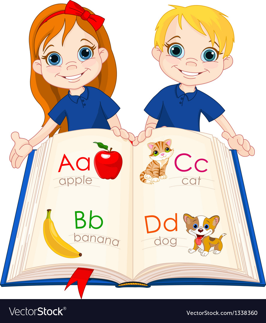 Two kids and abc book vector | Price: 3 Credit (USD $3)