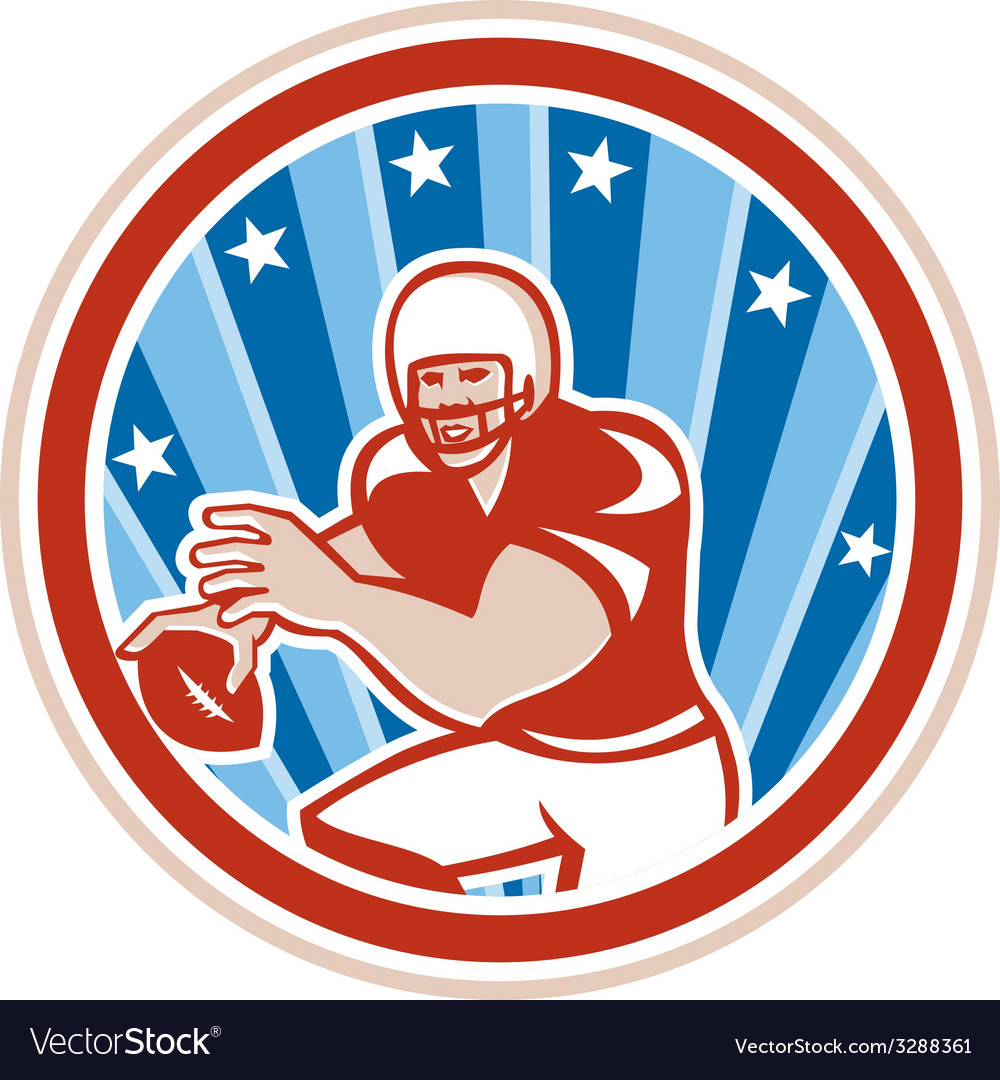 American football qb throwing circle retro vector | Price: 1 Credit (USD $1)