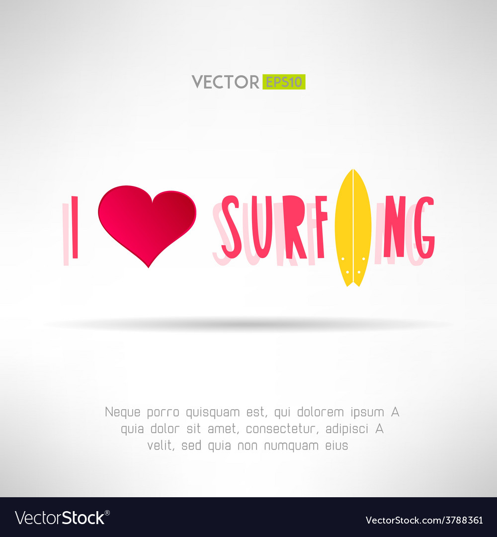 Bright colorful surfing tshirt print love heart vector | Price: 1 Credit (USD $1)