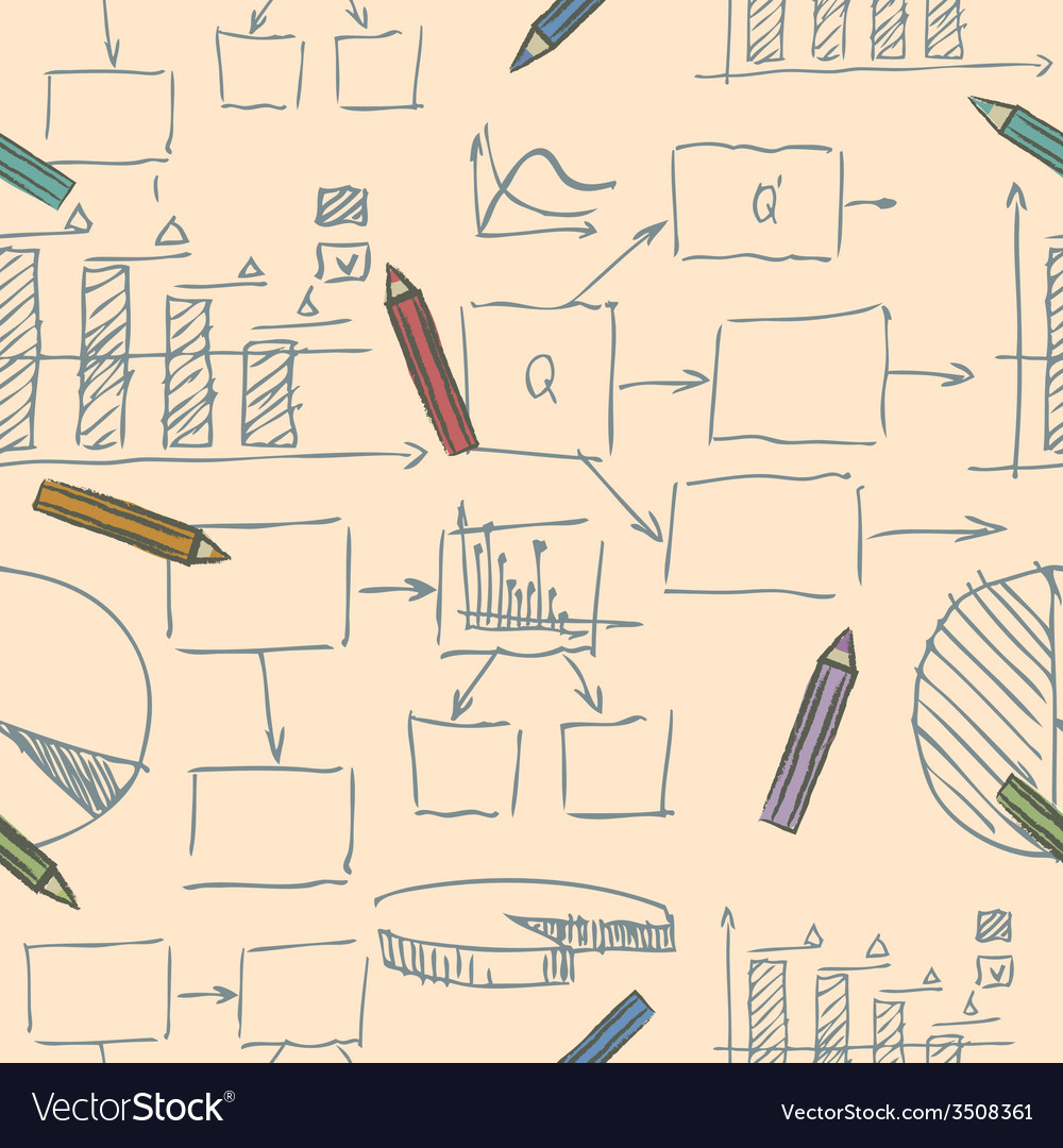 Business doodle sketch seamless pattern vector | Price: 1 Credit (USD $1)