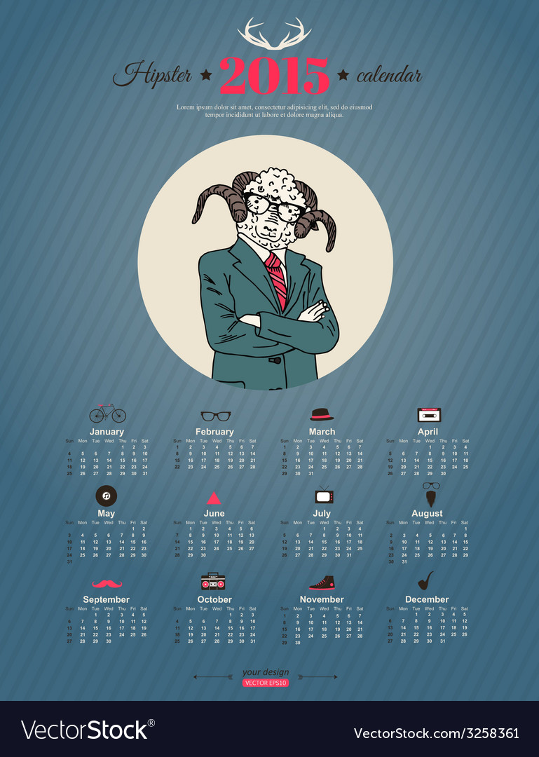 Calendar template hipster design year of the goat vector | Price: 1 Credit (USD $1)