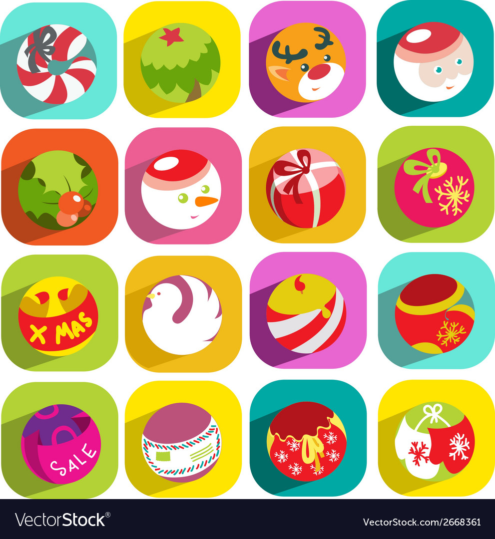 Colorful flat christmas icons vector | Price: 1 Credit (USD $1)