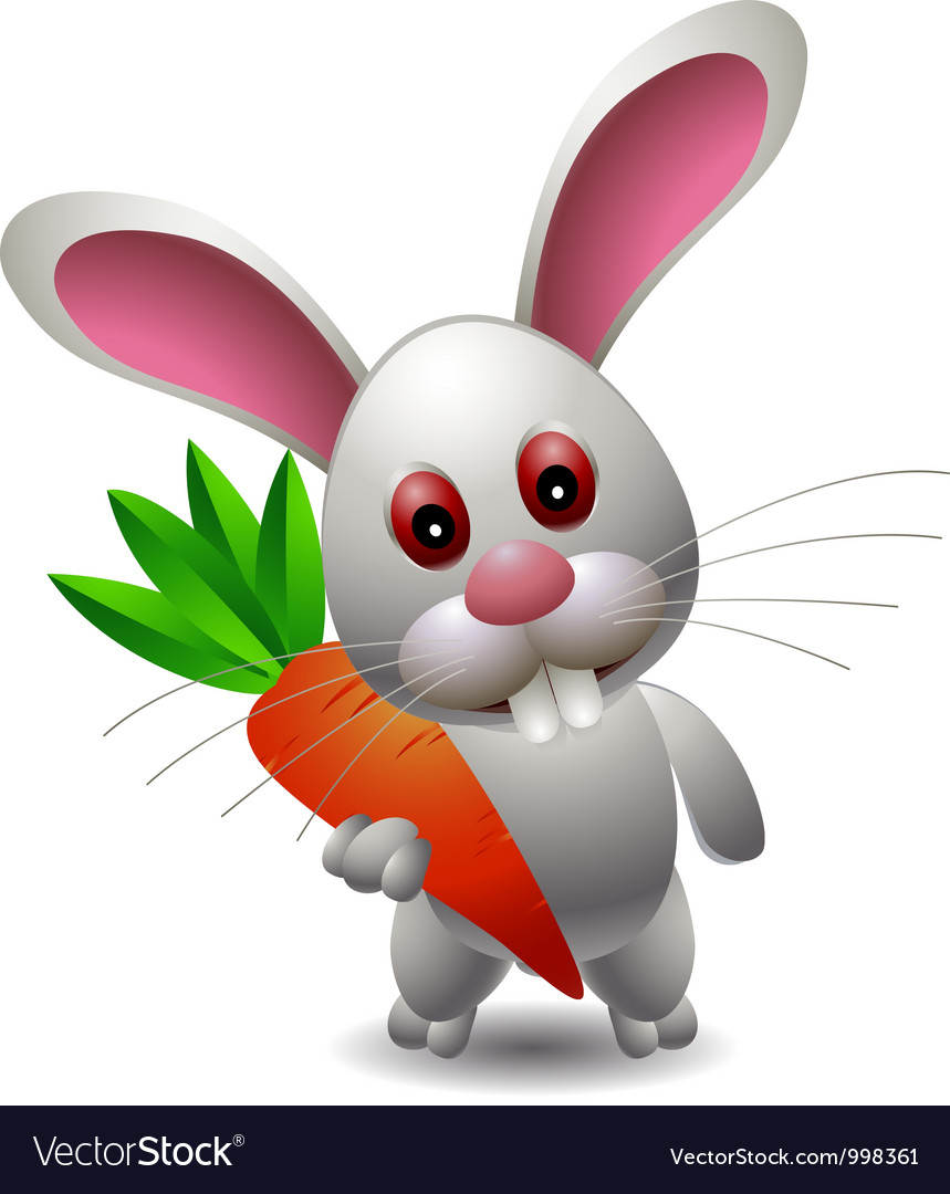 Cute rabbit cartoon with carrot vector | Price: 3 Credit (USD $3)
