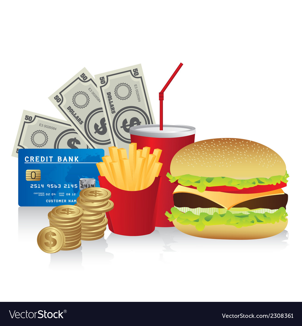 Fast food combo with a burguer french fries soda c vector | Price: 1 Credit (USD $1)