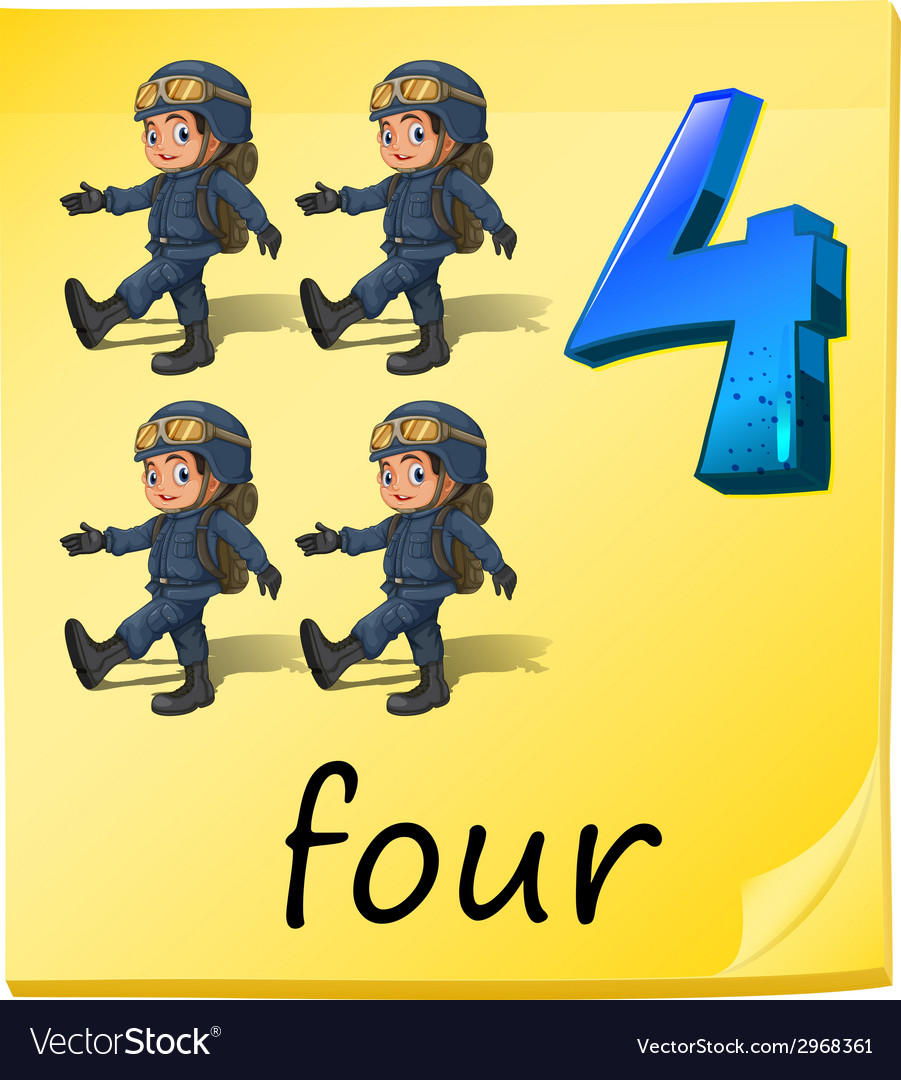 Four soldiers vector | Price: 1 Credit (USD $1)