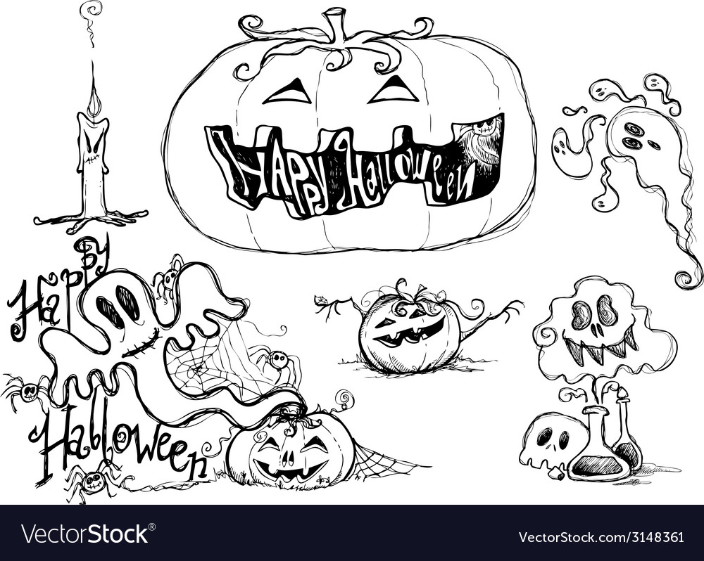 Halloween black sketched graphic elements vector | Price: 1 Credit (USD $1)
