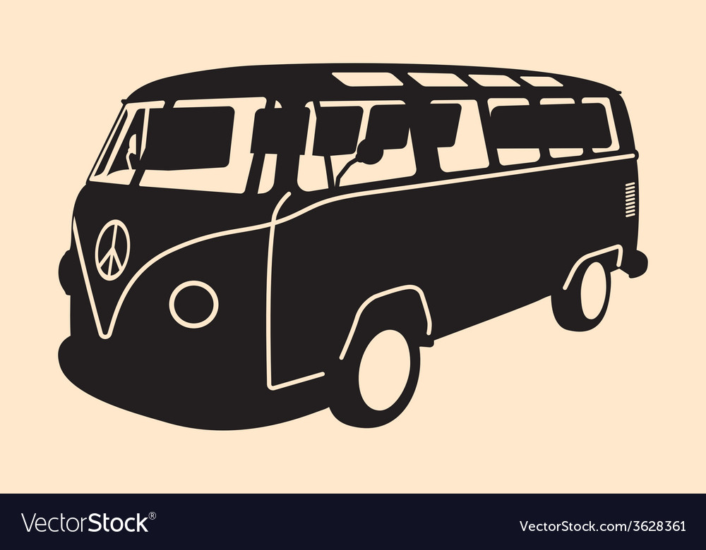 Minivan hippie silhouette vector | Price: 1 Credit (USD $1)
