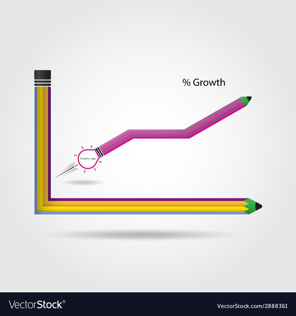 The pencils and graph increase on background vector | Price: 1 Credit (USD $1)