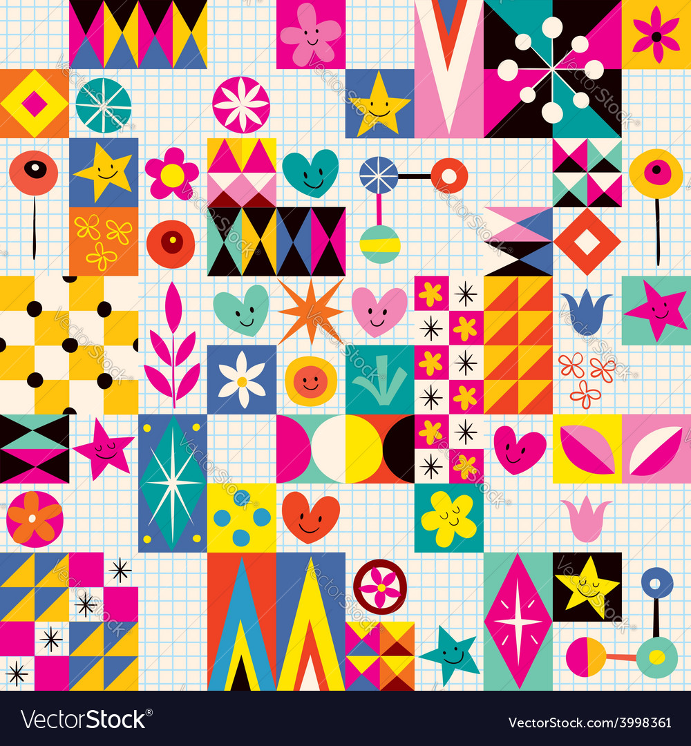 Retro style fun pattern 2 vector | Price: 1 Credit (USD $1)