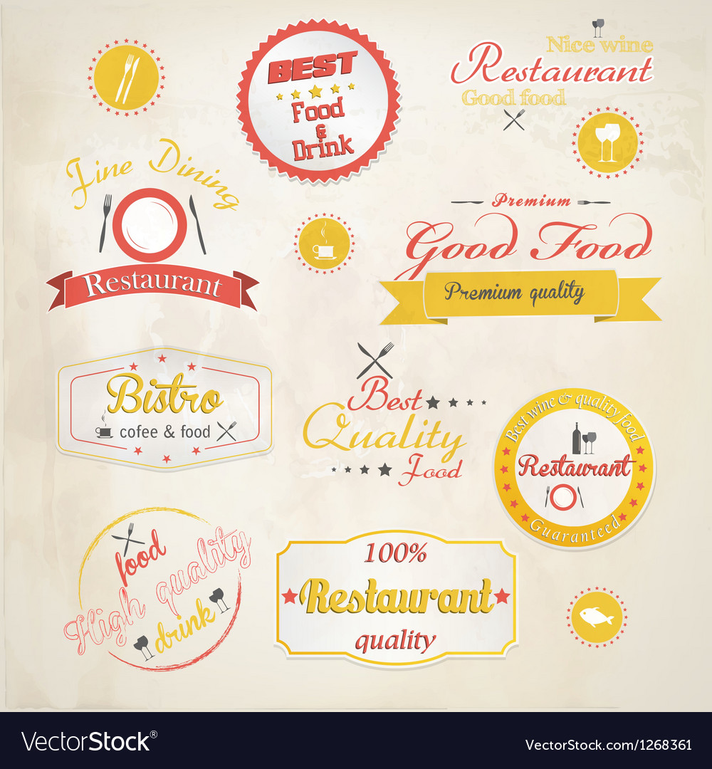 Retro styled restaurant labels vector | Price: 1 Credit (USD $1)