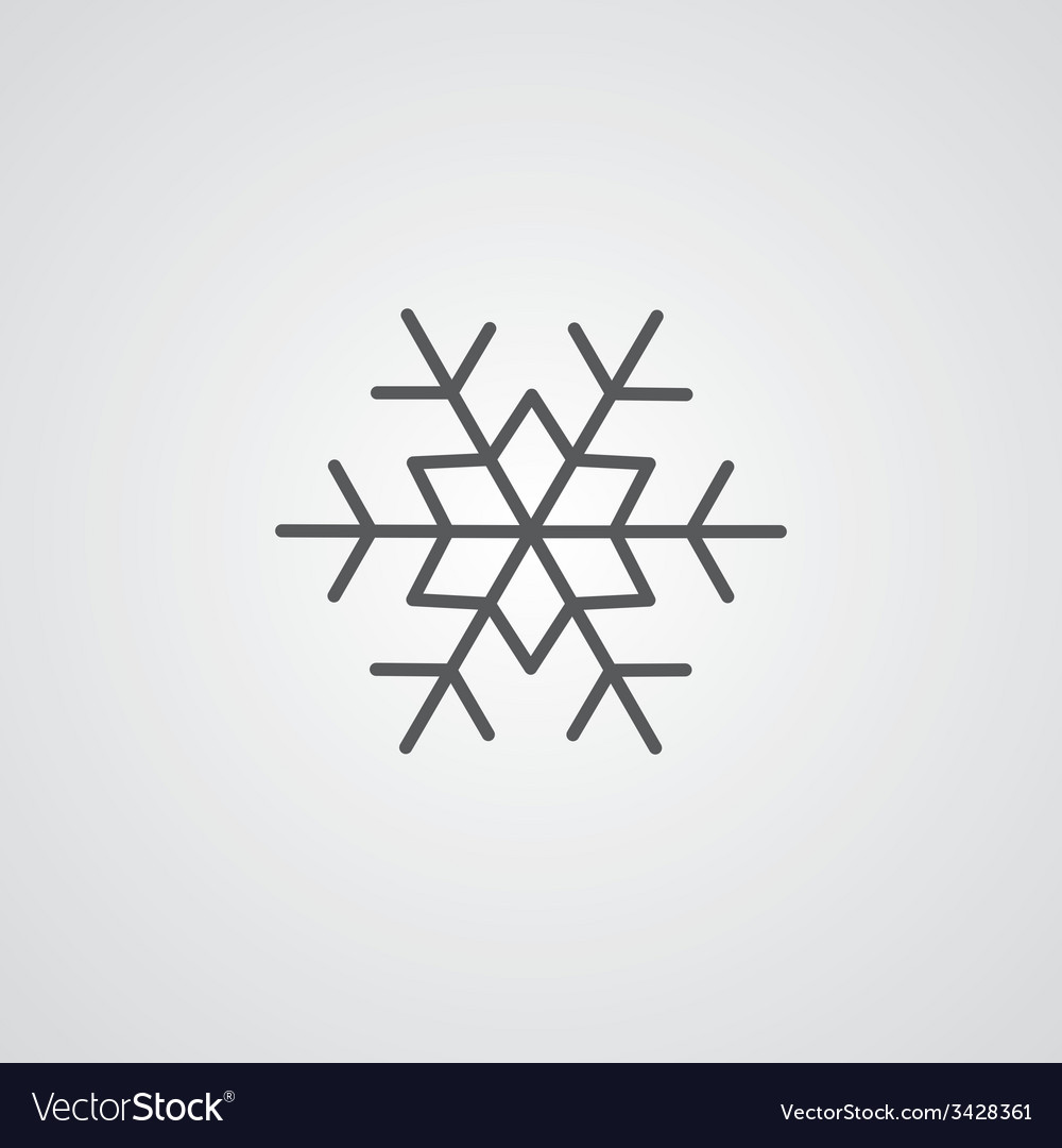 Snowflake outline symbol dark on white background vector | Price: 1 Credit (USD $1)