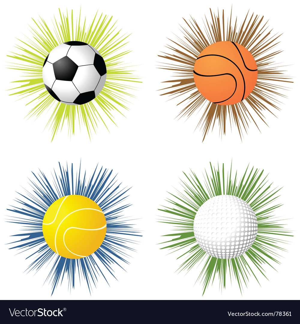 Sport balls over starburst vector | Price: 1 Credit (USD $1)