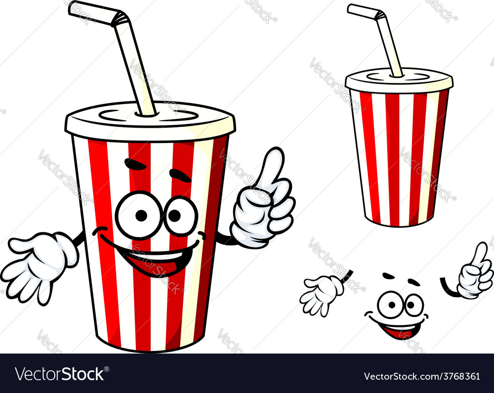 Stripe soda or juice cup with happy face and vector | Price: 1 Credit (USD $1)
