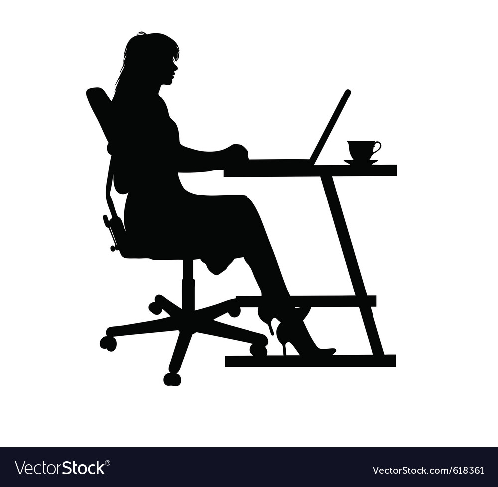 Woman on laptop vector | Price: 1 Credit (USD $1)