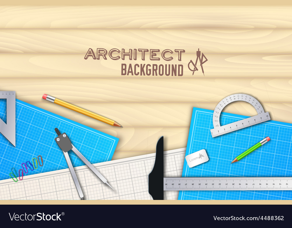 Architect wood table project with professional vector | Price: 1 Credit (USD $1)
