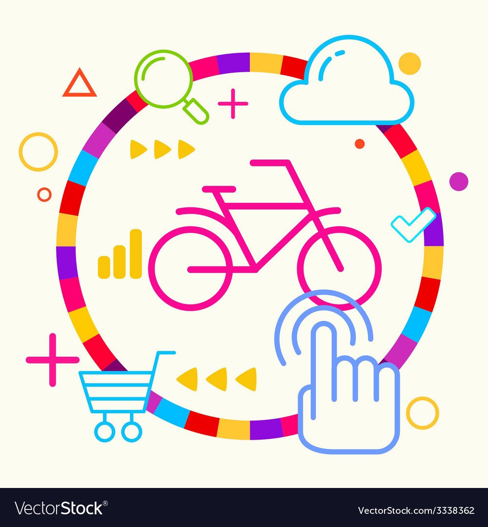 Bicycle on abstract colorful geometric light vector | Price: 3 Credit (USD $3)